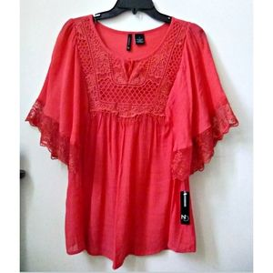 New Directions Peasant Blouse Red Color S Relaxed